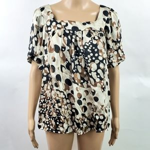 Agora Womans Blouse Top Size Medium Short Sleeve
